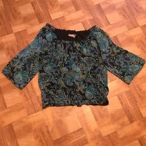 Kim Rogers floral blouse with elastic waist 1X
